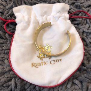Rustic Cuff engraved gold cuff